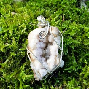 Handcrafted druzy geode crystal necklace pendant